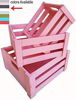 ITALIA 3 PC Wood crates Nested L Size 12 x 11 x 6 H S 8.75 x 8.25 x 4.25 Pink Color Multipurpose Wood Crafted Bathroom Kitchen,Laundry Crates Fruits & Vegetables