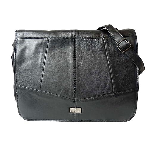 e0a4e57d87a911 Triple Zipped Section Handbag - Cross Body Shoulder Bag - Ladies Black Soft Leather  Bags -