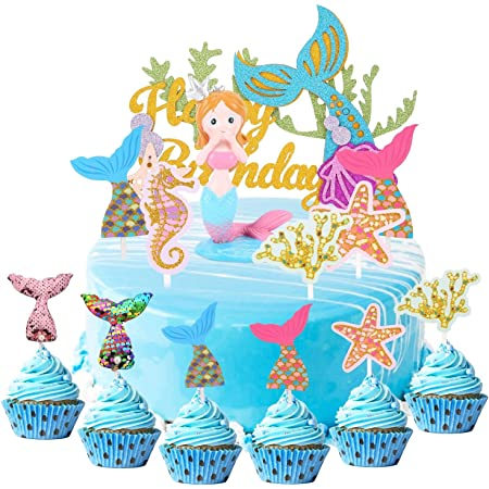 Herefun 34pcs Cake Topper de Sirena, Mermaid Doll Cake Topper Figura Lentejuelas, Cupcake Topper Set, Sea Series Cake Decoration niña Feliz Cumpleaños Mermaid Tail, fiestas cumpleaños o fiestas