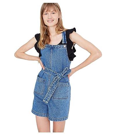Madewell Denim Tie-Waist Patch Pocket Short Overalls (Malcom Wash) Women