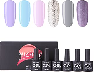 Soak Off Gel Nail Polish Set, MIYOUNE Light Colors Glitter Combo Gel Polish kit UV LED Nail Varnish Set