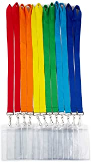 12 Pack Cruise Lanyard with Waterproof ID Card Holder, Colorful Solid Color Durable Lanyard with Badge ID Holder for Badge Card and Carnival Sail (Assorted Rainbow 6 Colors)