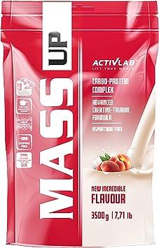 Activlab Mass Gainer - Complejo de proteínas y carbohidratos de suero - Creatina y taurina - Sin aspartamo (Peach, 3,5kg)