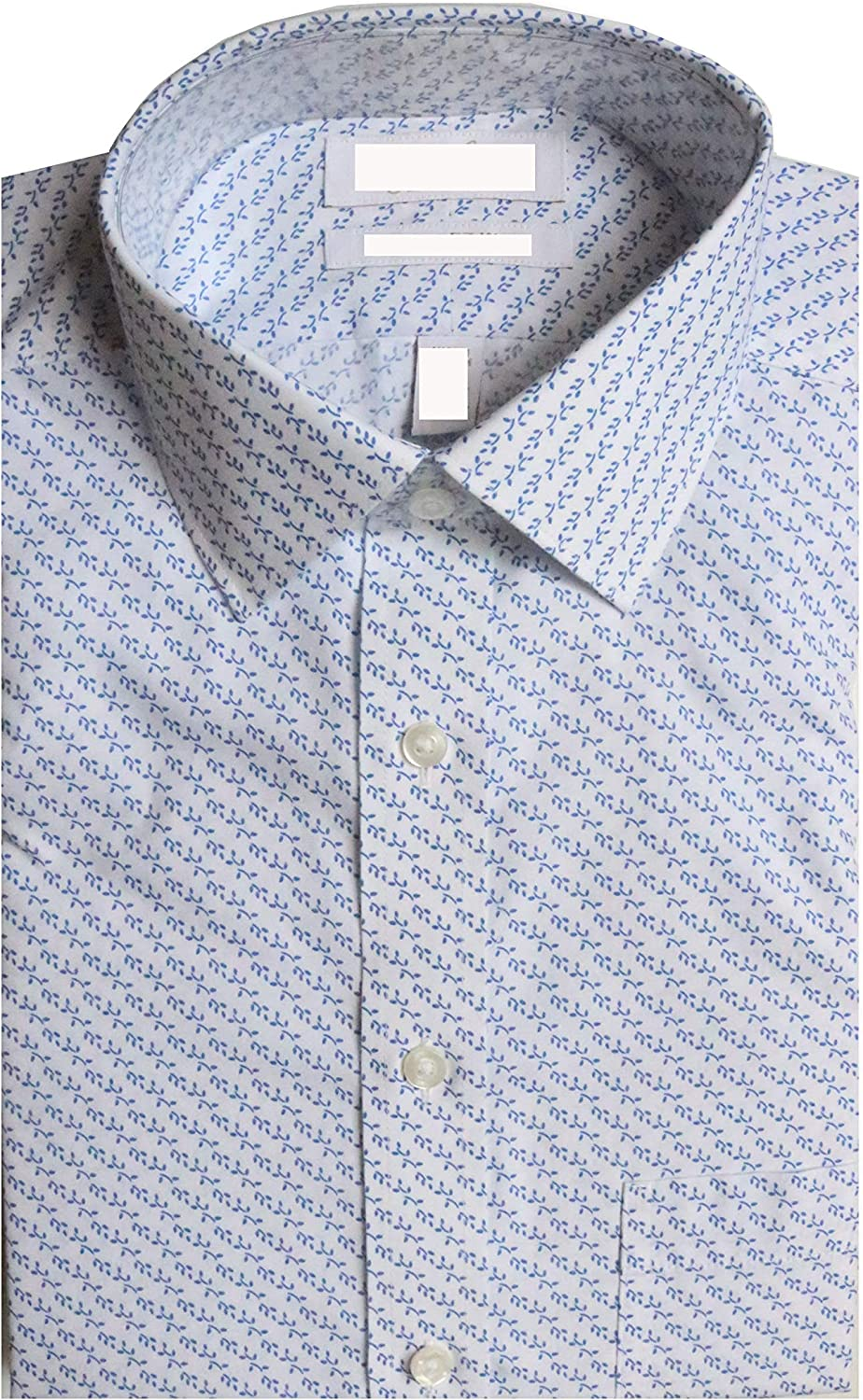 Gold Label Roundtree & Yorke Non-Iron Slim Fit Spread Collar Flower Printed Dress Shirt G16A0148 Blue