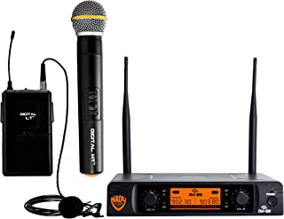 "Nady DW-22 Dual Digital Wireless Handheld & Lapel Microphone System – Dual fixed UHF frequency – Ultra-low latency with QPSK modulation - XLR and ¼"" outputs"