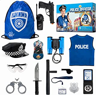 Police Officer Role Play Kit - 15 Piece Policeman Pretend Play Set - Hat Vest Badge Handcuffs Binoculars - Cop Costume Accessories - Detective, Swat Gear for Kids Dress Up - Bag for Halloween Included