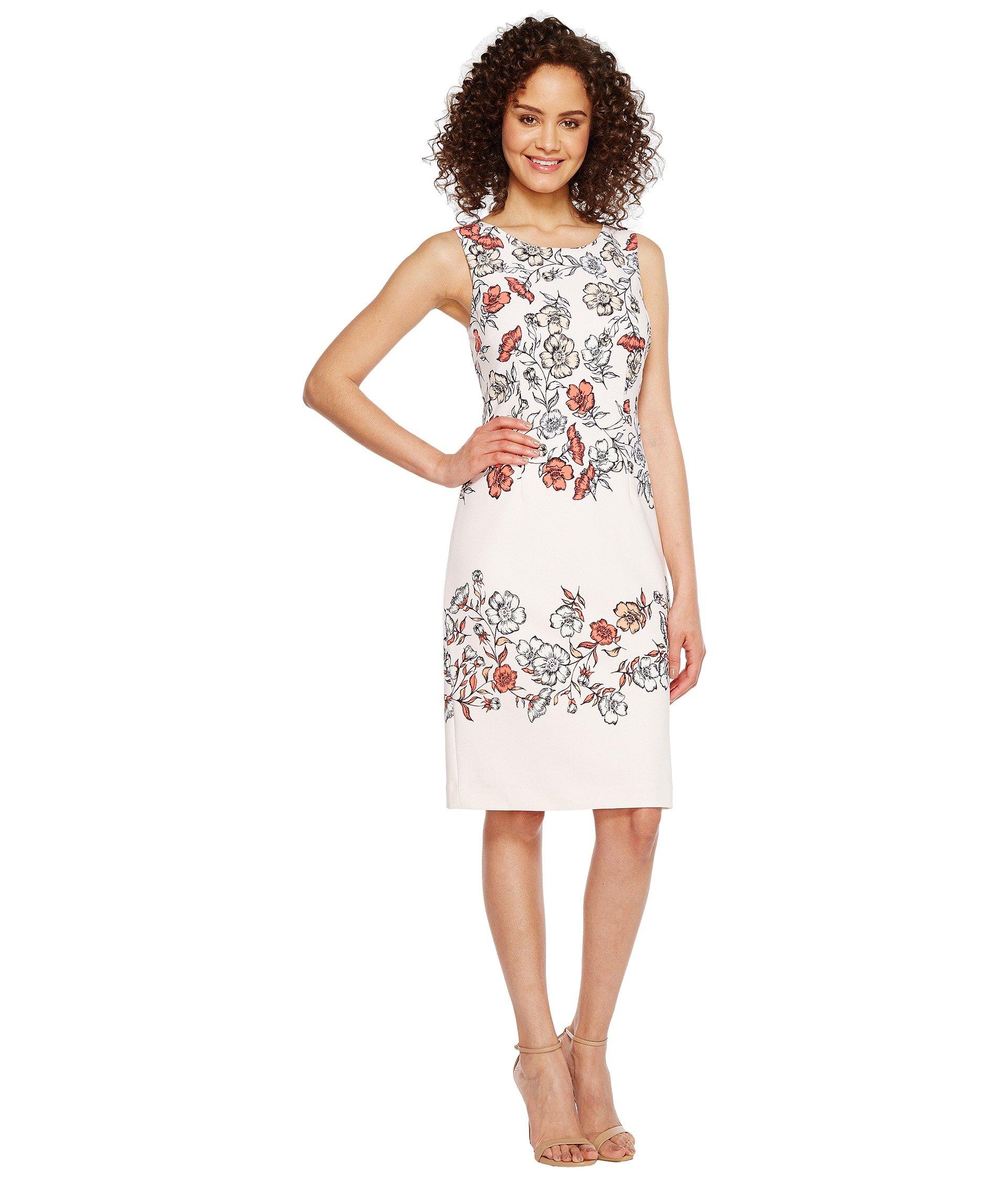 IVANKA TRUMP Floral Print Sleeveless Scuba Crepe, Blush/Tart