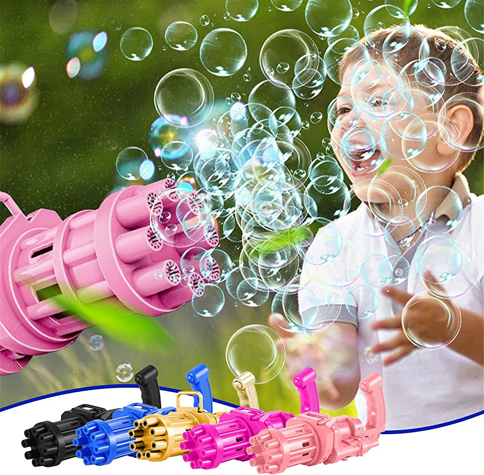 VESNIBA Bubble Gatling Gun 2021 Cool Toys & Gift, 8-Hole Huge Amount Bubble Maker, Strong Tightness, Children's Bubble Machine for Summer Outdoor Activities for Boys and Girls