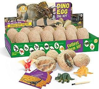 Dino Egg Dig Kit Dinosaur Eggs 12 Dinosaur Excavation Kits with 12 Unique Dinosaur Toys Dinosaur Dig for Kids Easter Party...