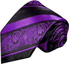 Purple and Black Silk Tie and Pocket Square Paul Malone Red Line
