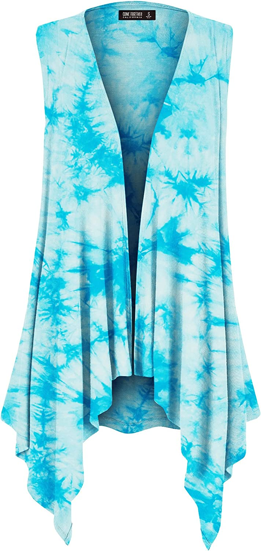 CTC Womens Lightweight Sleeveless Tie Dye Open Front Drape Cardigan - Made in USA