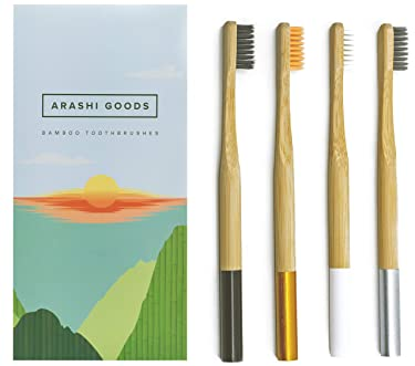 Arashi Goods Bamboo Toothbrush – Soft Bristle Eco Friendly Toothbrushes for Adults and Children (4-Pack, Colored Handles)
