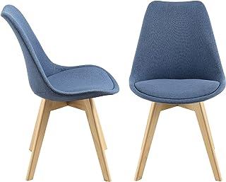 Set de 2 Sillas de diseño Frederikstad 97 x 42 x 48 cm Conjunto de Sillas de Comedor Silla de Cocina Patas de Haya Asiento Tapizado en Tejido Azul