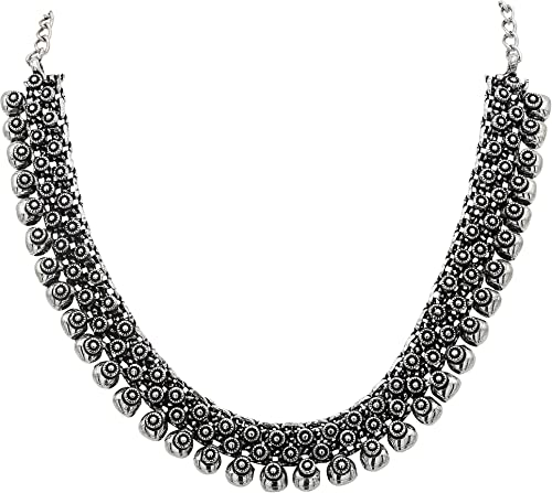 Sasitrends Oxidised German Silver Necklace for Women & Girls