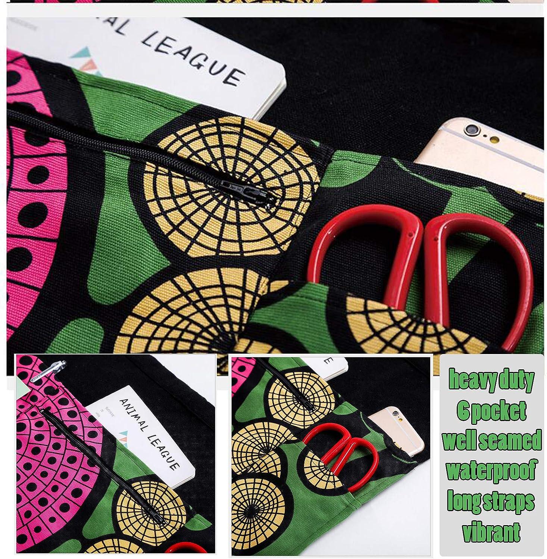 Canvas Waist Apron Oxford Heavy Duty 6 Pockets Tool Apron for Women Waitress Server Pattern Design with Zipper /& Long Straps