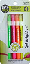Onyx & Green Gel Highlighters, Assorted Colors, made from Recycled Plastic - 4 pack (1808)