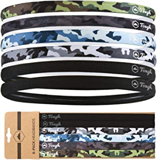 Athletic Sports Headbands - 6 Pack Thin Hair Bands for Men, Women, Boys & Girls - Elastic Head Bands with No Slip Silicone...