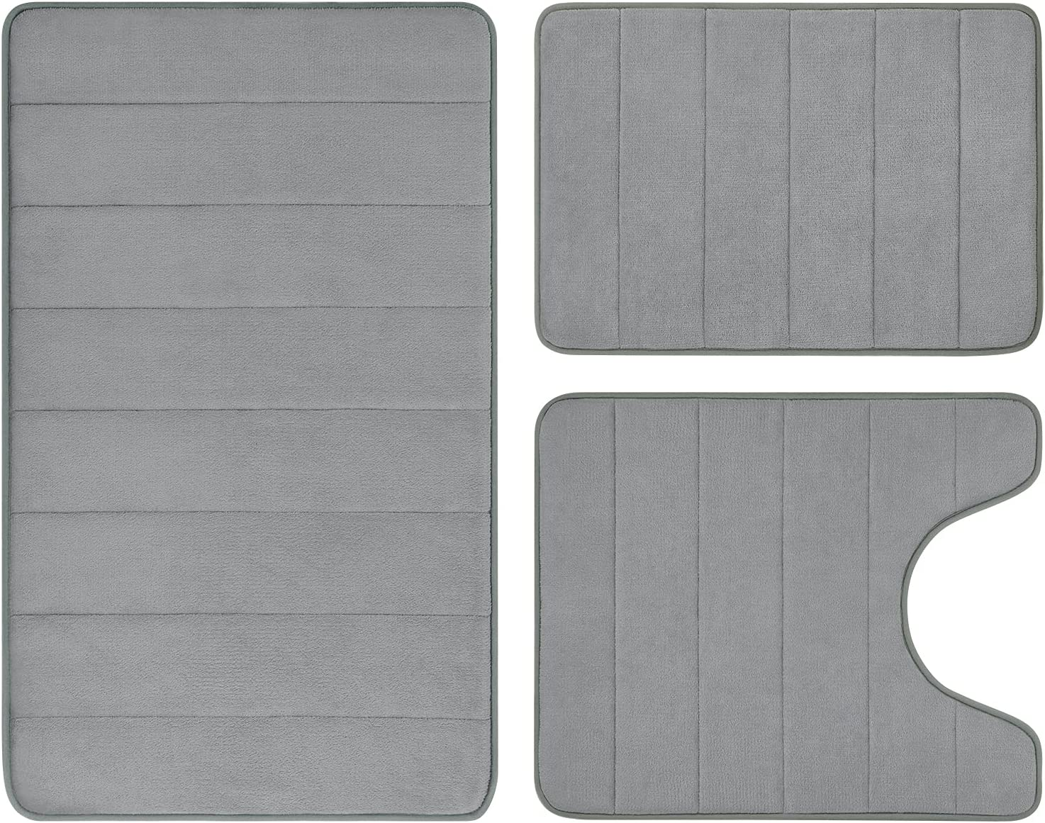 BYSURE Grey Memory Foam Bathroom Rug Piece Non Slip Set At the price of surprise 3 Outstanding Extra