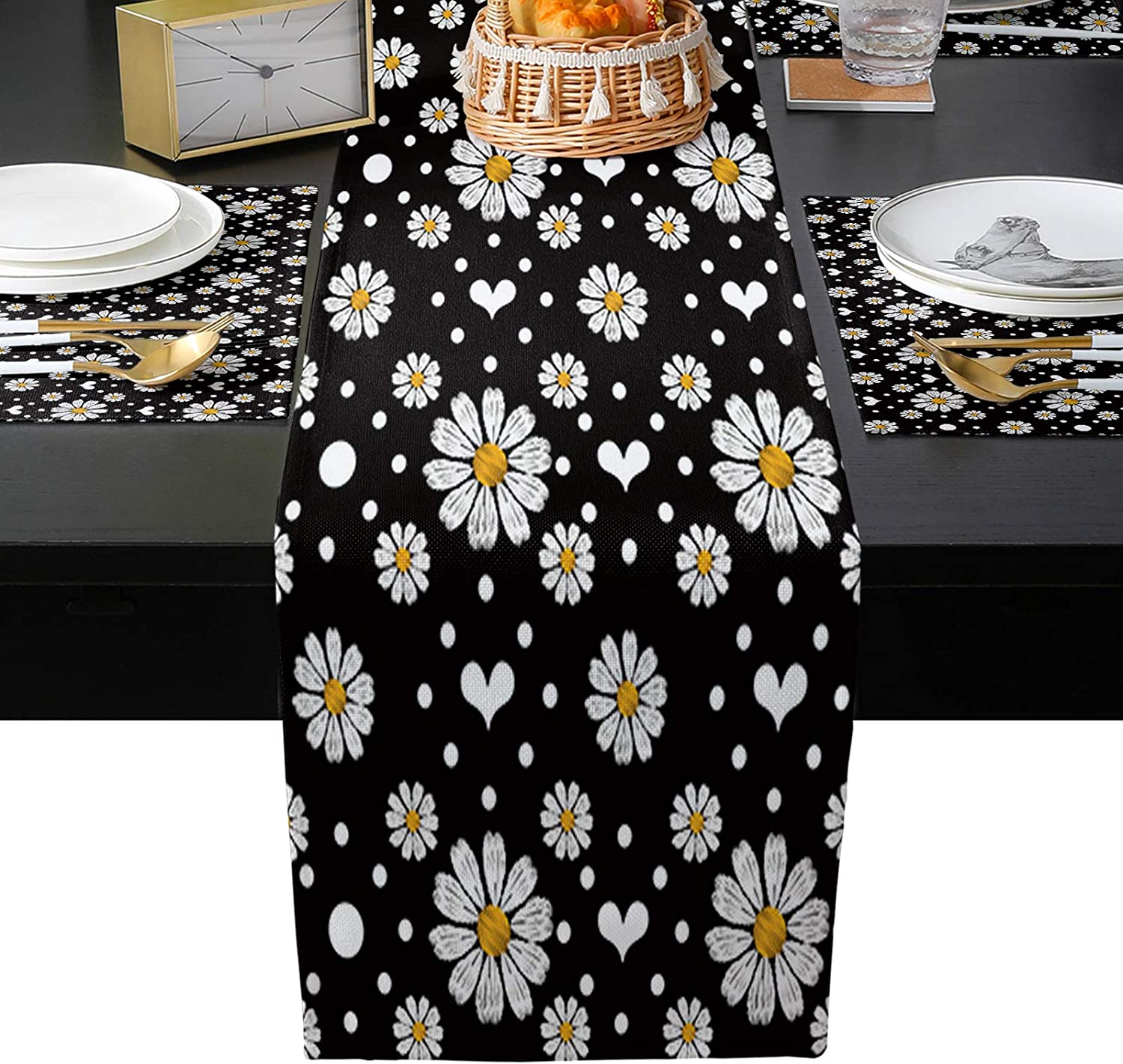 lowest price TH XHome Linen Max 55% OFF Burlap Table and Daisy Fl Placemats-White Runner