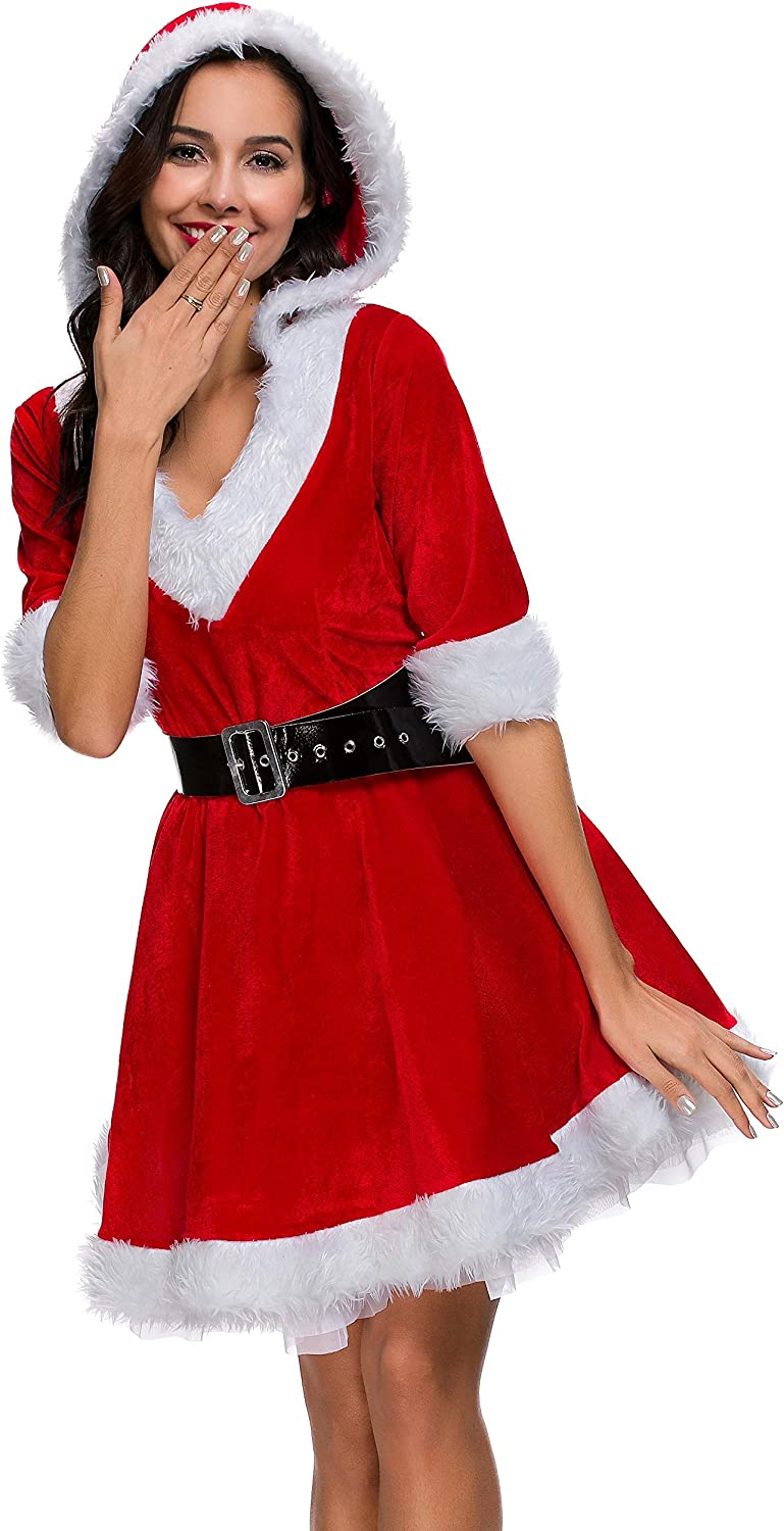 Mrs. Claus Costume Santa Christmas Outfits Hooded Dress for Adult Women