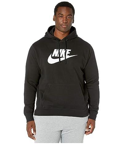 Nike Big Tall NSW Club Hoodie Pullover Graphic (Black/Black/White) Men