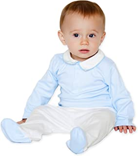 Dakomoda Baby Boys' 100% Pima Cotton - Blue White Crochet Collar Bodysuit & Pant Set