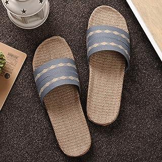 YAOLUU Summer Slippers Zapatillas for el hogar de Lino Zapatos de Piso Interior Cinturón Cruzado Silencio Sweat Skets for ...