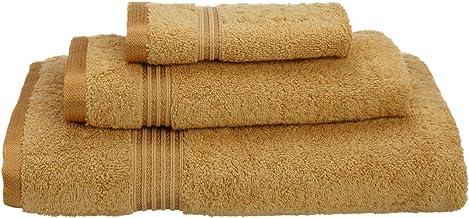 مجموعة مناشف حمام فائقة من 3 قطع مصنوعة من القطن الممشط طويل التيلة بنسبة 100%، ذهبي