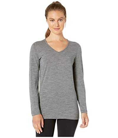 Icebreaker 200 Oasis Merino Baselayer Long Sleeve V-Neck (Gritstone Heather 1) Women