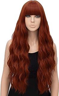netgo Auburn Wig for Women Long Wavy Heat Resistant Fiber Wigs Side Bangs Cosplay Party