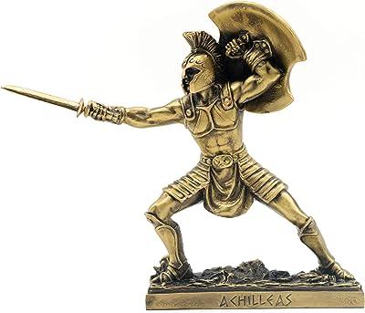 Helcee Handmade Bronze Plated Achilles Warrior Shielding Statue 7 in