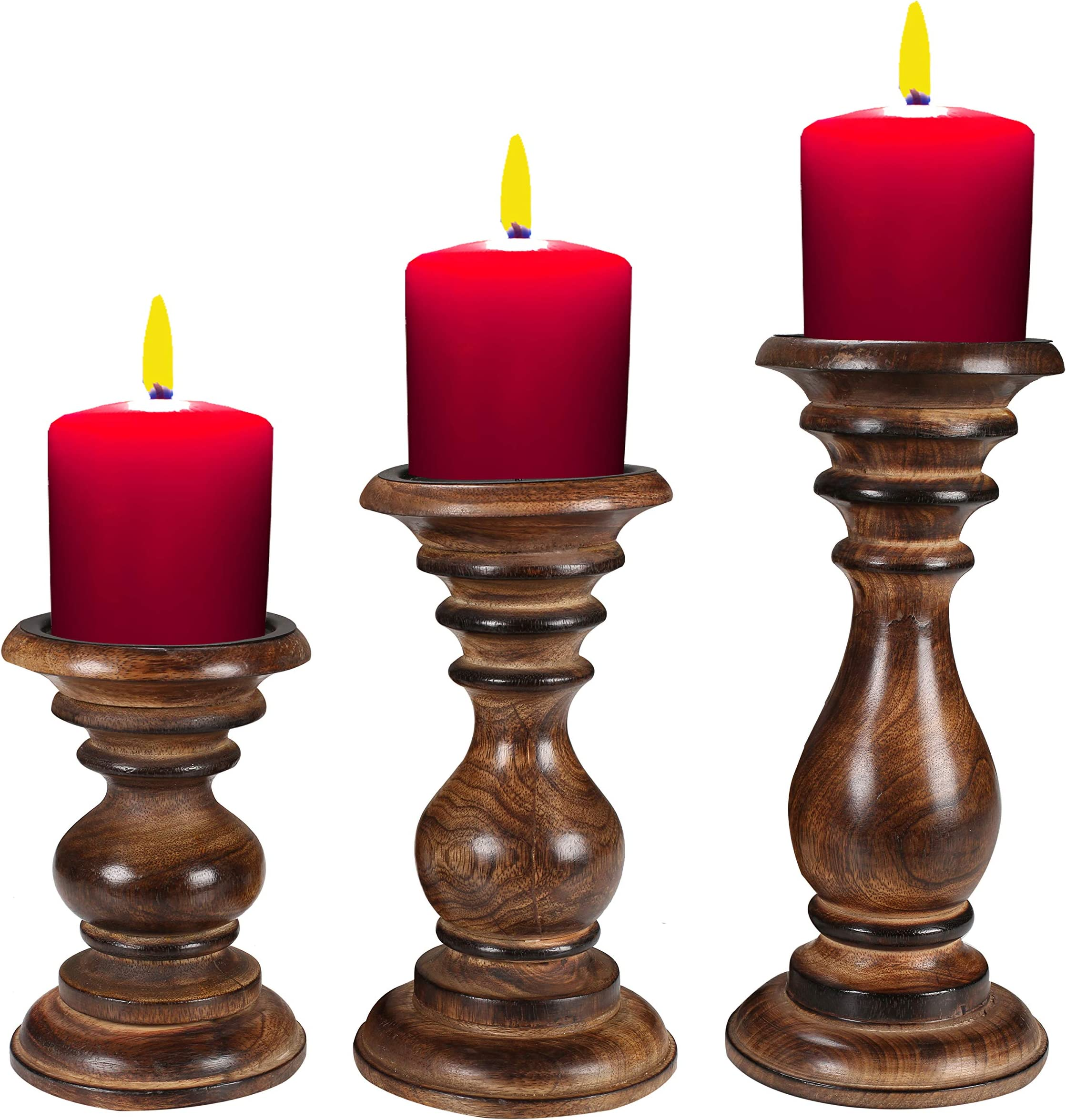 Candle Holder Wooden Candlestick Ant\u0131que Candle Centerpiece Wedding Candle Holder Set