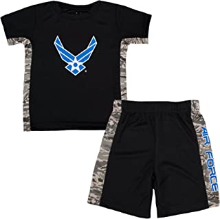 Toddler Kids U.S. Air Force Logo ABU Camo Athletic Shorts & T-Shirt Set