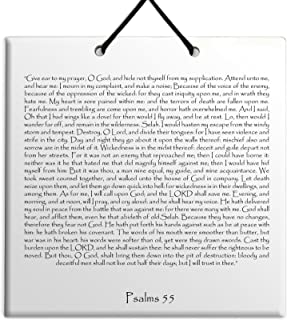 """Wood MDF tile wall hanging Holy Texts & Writings English Psalms chapter 55 TEHILLIM תהילים """"But You, O God, shall lower th..."""