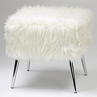 Cortesi Home Olivia Faux Fur Ottoman with Chrome Legs, 20