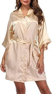 Sueshop Women's Satin Kimono Robes Short Silky Bathrobe Pure Color Robe for Wedding