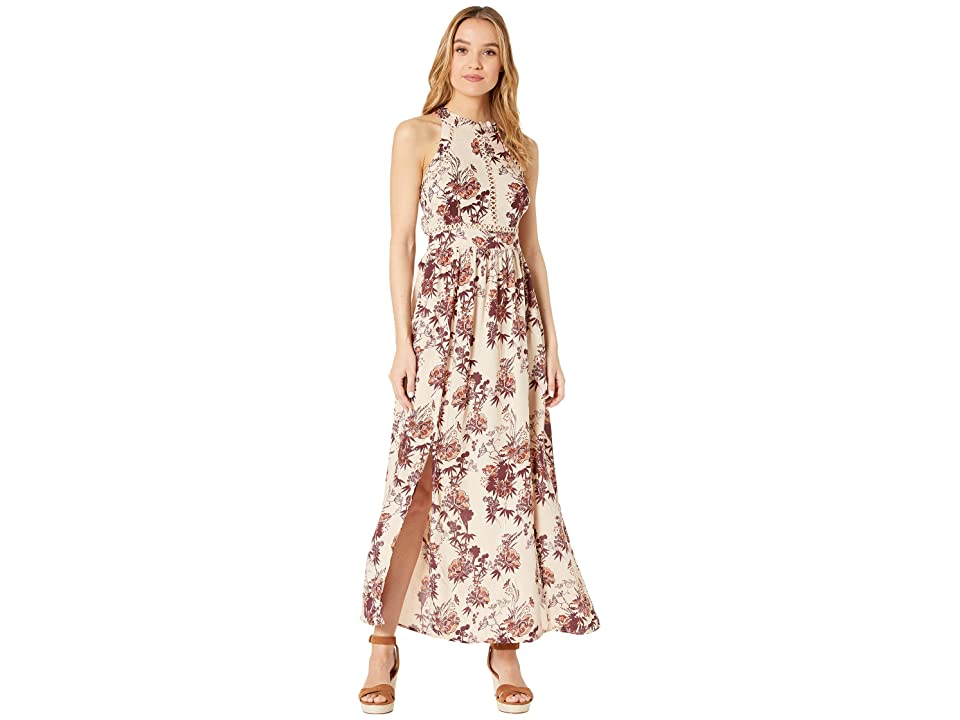Angie Halter Maxi Dress w/ Lace Insets (Latte) Women