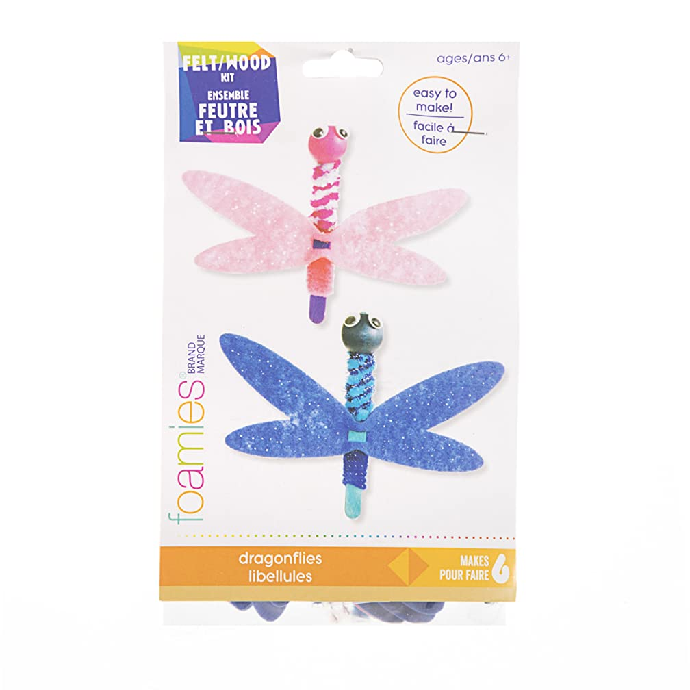 Darice 30043179 Felt & Wood, 48 Pieces Dragonfly Kit, Assorted