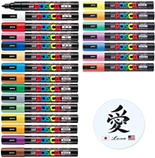 Uni Posca Paint Marker Mitsubishi Poster Color 22 Marking Pen Medium Point PC-5M 15 Standard & 7 Natural Colors Set With K...