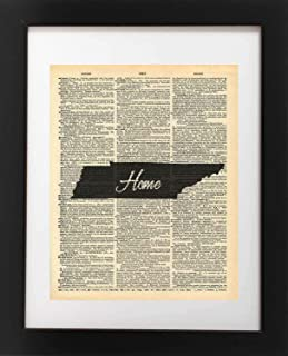 Tennessee State Vintage Map Vintage Dictionary Print 8×10 inch Home Vintage Art..