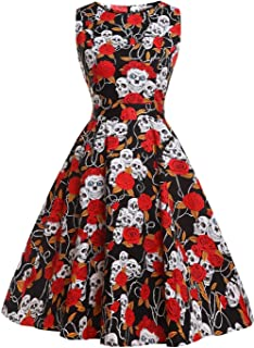 FAIRY COUPLE 50s Vintage Retro Floral Cocktail Swing Party Dress with Bow