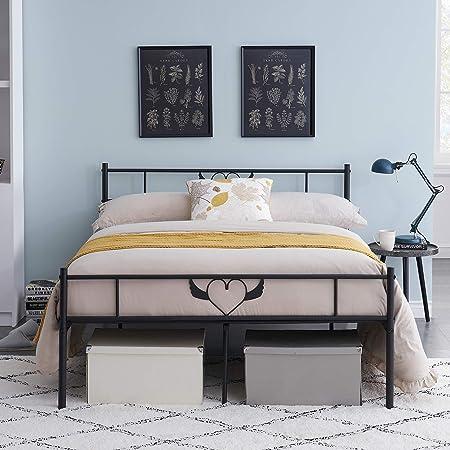 Smylife Lit Double en métal à Motif Ange Cadre de lit Double avec Lattes Solides et Structure en métal 140x190cm, Noir