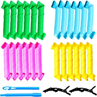 Hair Curlers No Heat Spiral Curls, Wave Formers Heatless Hair Curlers Styling Kit, Flexi Rods Magic Hair Rollers with 2 Ha...