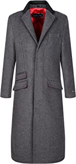 The Platinum Tailor Mens Grey Wool & Cashmere Covert Overcoat Warm Winter MOD Cromby Coat Velvet Collar & Red Satin Lining