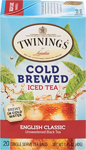 lowest Twinings of popular London English Classic online sale Cold Brewed Iced Tea Bags, 20 Count (Pack of 6) outlet sale