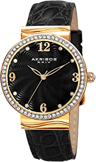 Akribos XXIV Glimmer Womens Casual Watch AK829 - Engraved Swirled Guilloche Dial - Quartz Movement - Crystal Filled Bezel - Leather Strap