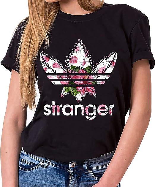 Tee Kiki Stranger Nahia - Camiseta para Mujer de Cuello Redondo Things Demogorgon Elfie Dustin Jane Hopper Upside Down TV BLU-Ray DVD