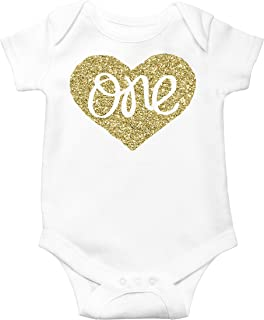 9d7dce60387 Baby Girls First Birthday Bodysuit Sparkly Gold One Inside Heart Design 1st  Birthday Outfit Girl
