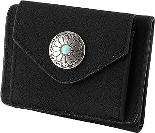 [クロスマーベリー] コンパクト ミニ 財布 コンチョボタン 小銭入れ お札入れ ウォレット カードポケット 軽量 レディース