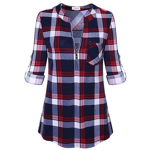 b127e0aacd Bulotus Women s 3 4 Sleeve V-Neck Casual Plaid Tunic Shirt